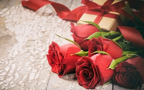 Wallpaper love, gift, roses, love, heart, romantic, Valentine's Day