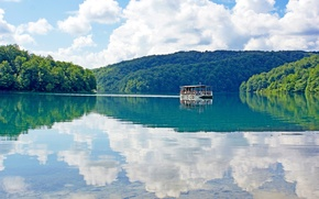 Wallpaper reflection, Croatia, lake, water, clouds, the sky, ship, forest, Plitvice Lakes