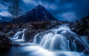 Picture trees, landscape, mountains, night, stones, waterfall, the evening, Wallpaper from lolita777