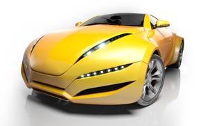 Picture yellow, headlight, wheel, supercar