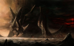 Picture the storm, water, rocks, lightning, army, art, monsters, giant