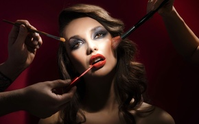 Picture girl, Shine, makeup, lips, shadows, brush