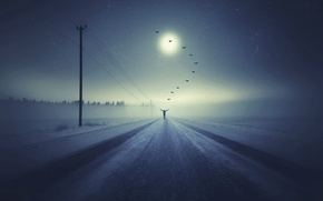 Picture fantasy, Going to heaven, people.birds, winter road