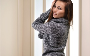 Picture look, girl, smile, beautiful, sweater, Michaela Isizzu