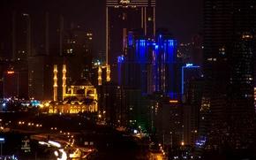 Picture night, mosque, Istanbul, Turkey, night, Istanbul, Turkey, Mimar Sinan Mosque