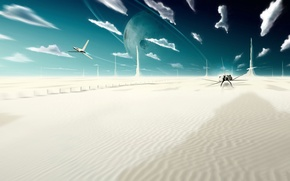 Picture the sky, clouds, fiction, desert, planet