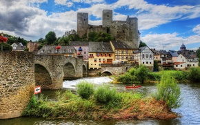 Picture the sky, grass, clouds, bridge, river, people, castle, boat, tower, home, Germany, hill, Runkel