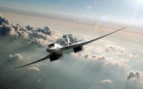 """Picture strategic, """"White Swan"""", supersonic, The Tu-160, clouds, bomber bomber"""
