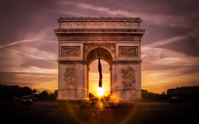 Picture sunset, France, Paris, Arch