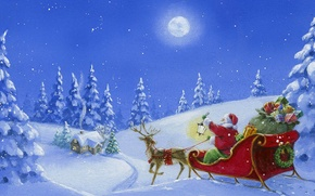 Wallpaper winter, snow, figure, tree, Christmas, gifts, sleigh, Santa Claus