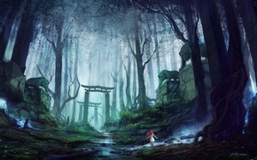 Picture road, forest, girl, fog, gate, red, tigers, guardians, stone, Mysterious