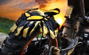 Picture macro, dawn, stay, shock absorber, wheel, blur, motorcycle, Parking, gloves, Parking, summer, motocross, moto, bike, ...