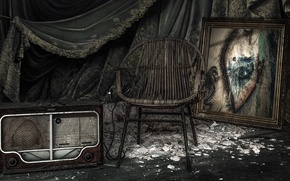 Wallpaper picture, chair, radio