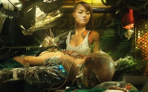 Picture girl, fiction, interface, figure, art, girl, Asian, cyborg, cyberpunk, art, sci-fi, cyberpunk, technician, asian, cyborg, …