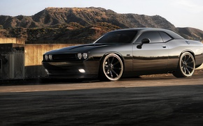 Picture road, the sky, mountains, wall, SRT8, Challenger, black, styling