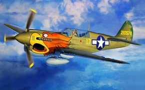 Picture fighter, war, art, airplane, painting, P-40N Warhawk `The 502nd FS`