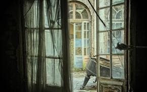 Wallpaper background, the door, piano