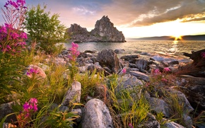 Wallpaper photo, Nature, Lake, Baikal, Stones, Russia, Landscape, Baikal
