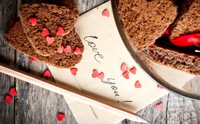 Picture the inscription, cookies, plate, hearts, pencil, cakes, the envelope, love you