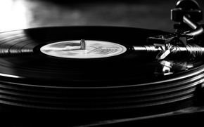 Picture player, vinyl, record, black and white photo, B/W