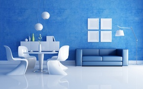 Wallpaper blue, table, room, sofa, chairs, interior, vases