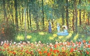 Wallpaper landscape, picture, Claude Monet, genre, The Artist's family in the Garden