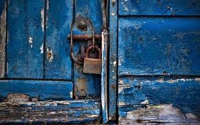 Picture door, blue paint, padlock, wood