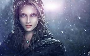 Wallpaper girl, snow, art, Zahid Raza Khan, face, pendant