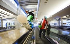 Picture snowboard, photoshop, escalator, Israel