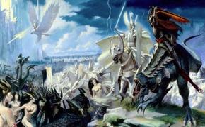 Picture elves, battle, the battle, Warhammer, riders, dark