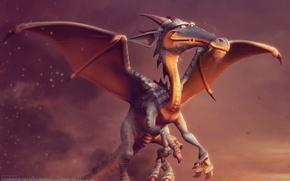 Picture dragon, smoke, wings, art, carlos ortega elizalde