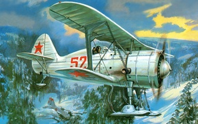 Picture winter, the sky, trees, mountains, fallen, figure, art, the plane, Soviet, single-engine, ski, fighter-polytropon, I …