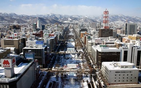 Picture winter, snow, mountains, street, building, Japan