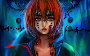 Picture look, girl, labels, blood, art, red, naruto, pain, rikamello