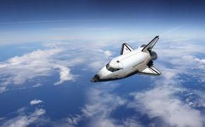 Wallpaper space, clouds, flight, the plane, Buran