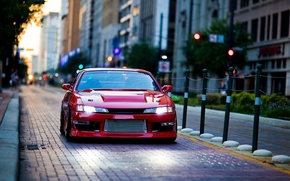 Picture city, street, tuning, nissan, Nissan, silvia, drain, s14