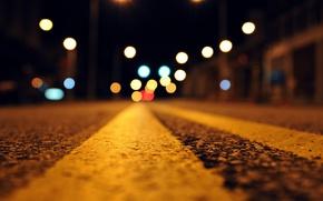 Picture road, asphalt, macro, night, lights, bokeh