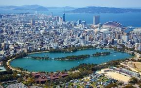 Picture sea, lake, coast, home, Japan, panorama, megapolis, the view from the top, Fukuoka