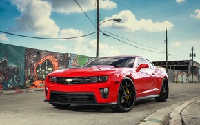 Picture lights, Chevrolet, Camaro, with, and, ZL1, Forgiato, lowered, wheels., smoked, on 24