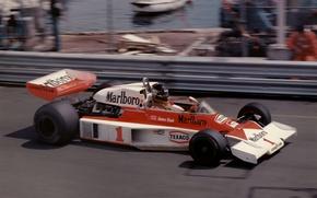 Picture speed, legend, Formula 1, 1977, Monte Carlo, James Hunt, world champion, Marlboro Team McLaren, McLaren …