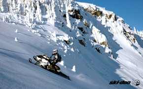 Picture forest, snow, mountains, sport, sport, snow, snowmobile, summit, snowmobile, ski-doo, brp, skidoo