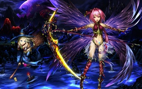 Picture mountains, weapons, castle, girls, the moon, wings, hat, anime, art, braid, broom, witches, tyappygain