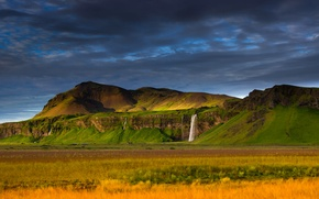 Picture landscape, mountains, rocks, waterfall, Iceland