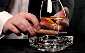 Picture glass, cigar, whiskey, ashtray, tuxedo, male hands