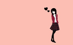 Wallpaper girl, love, heart, skirt, minimalism, anime, is, orange background, black hair, thought, simple background, turned