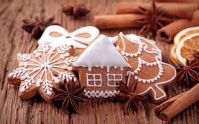 Picture house, tree, New Year, cookies, Christmas, sweets, nuts, cinnamon, Christmas, figures, snowflake, cakes, holidays, New …