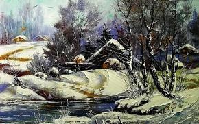 Picture winter, snow, landscape, river, home, picture, village, day, painting, farm, Khodukov, spatula