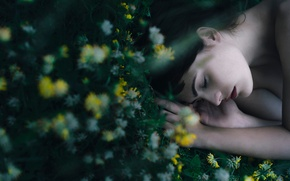 Picture grass, girl, flowers, stay, sleep, makeup