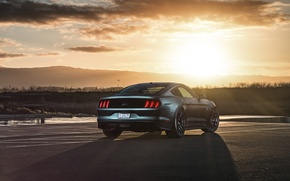 Picture Mustang, Ford, Muscle, Car, Sunset, Wheels, Rear, 2015, Velgen, Beam