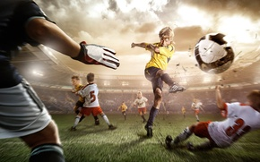 Picture grass, movement, football, the ball, blow, leg, stadium